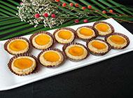 金黄色的芒果蛋挞图片