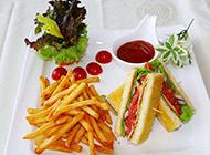 誘人的美式薯條三明治圖片