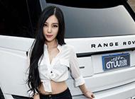 長腿車模王曉莎莎唯美展示純白路虎