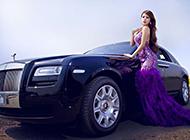 劳斯莱斯美女车模超清摄影图片