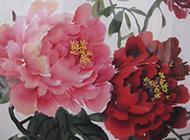 美丽妖艳的牡丹花国画图片