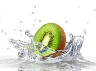 奇異果與水高清背景圖片素材