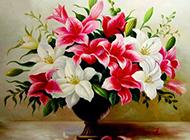 香水百合花写实油画作品欣赏