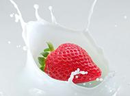 草莓与牛奶背景素材