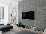 极简主义黑白风格公寓室内装修效果图