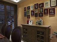 美式餐厅简约照片墙装修效果图温馨舒适