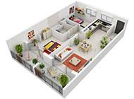 二居室3D平面設計效果圖展覽