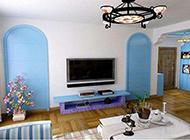 藍色地中海風格公寓裝修效果圖