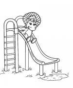小恐龙坐滑滑梯简笔画