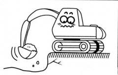 卡通挖掘机简笔画图片