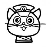 少儿可爱的黑猫警长头像简笔画图片