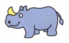 儿童关于上色的犀牛简笔画图片