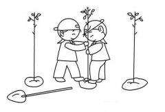 少儿植树节简笔画图片大全