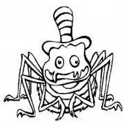 万圣节卡通蜘蛛简笔画图片