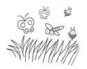 草地好多飞舞的蝴蝶密封蜻蜓简笔画图片