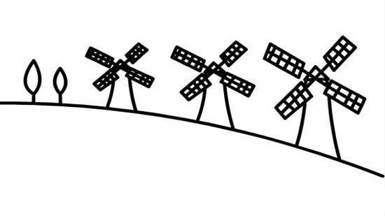 一排风车房子简笔画图片