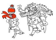 幼儿元宵节习俗简笔画图片:舞龙