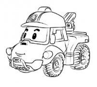 变形警车珀利越野车巴奇简笔画图片