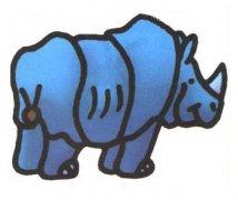 带颜色的犀牛简笔画图片