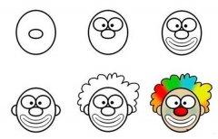 小丑头像简笔画画法步骤:怎么画小丑头像