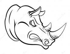 凶猛犀牛头像简笔画图片