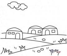 少儿三个蒙古包简笔画图片大全