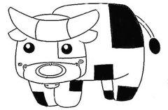 儿童可爱的卡通奶牛简笔画