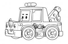 变形警车珀利拖车斯普奇简笔画图片