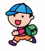 带颜色的小朋友背书包简笔画图片