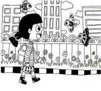 小女孩开学第一天简笔画图片