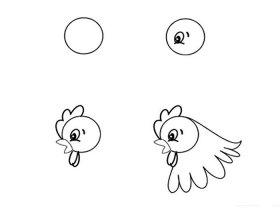 母鸡简笔画步骤