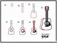如何画吉他简笔画