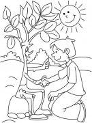植树节卡通简笔画图片:大树与我握手