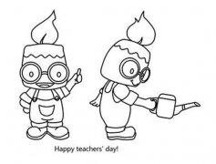 一年级创意卡通教师节简笔画图片:老师是蜡烛和园丁