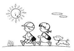 小朋友开学简笔画图片:太阳当空照