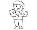 抱着猫咪的小男孩简笔画图片
