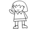 打招呼的小女孩简笔画图片