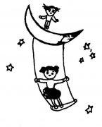 创意秋千简笔画图片:月亮上荡秋千
