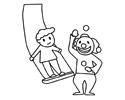 马戏团小丑在表演的简笔画图片