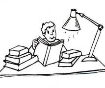 台灯下读书学习情景简笔画图片大全