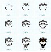 黑猫警长简笔画教程步骤图解大全:怎么画黑猫警长