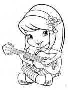 小女孩弹吉他简笔画图片