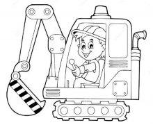 儿童开挖掘机简笔画图片