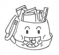 装满书的可爱卡通背包简笔画图片