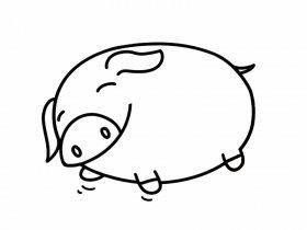 睡觉的小猪简笔画