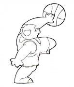 卡通猪简笔画:打篮球的猪