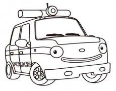 儿童卡通警车简笔画图片