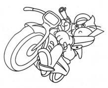 儿童骑摩托车的黑猫警长简笔画图片