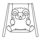 少儿卡通秋千简笔画图片:小羊坐秋千