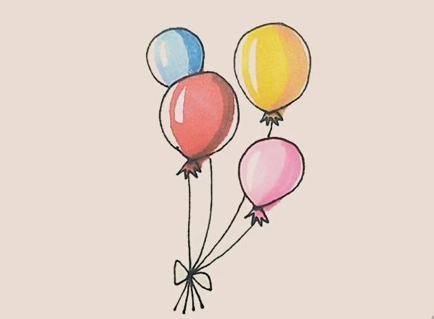 如何画彩色气球简笔画